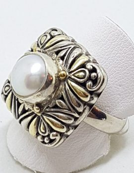 Sterling Silver & Gold Plated Pearl Ornate Square Ring