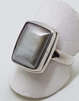 Sterling Silver Grey/Silver Pearl Rectangular Ring