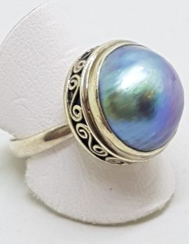 Sterling Silver Blue/Grey Mabe Pearl Ring - Patterned Rim