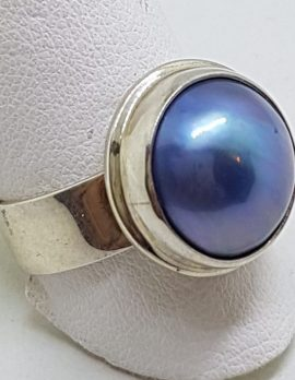 Sterling Silver Blue Mabe Pearl Wide Band Ring