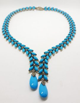 Stunning Sterling Silver Large and Long Reconstituted Turquoise and Marcasite Collier Drop Necklace / Chain