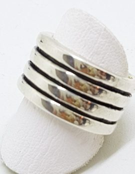 Sterling Silver Heavy Wide Line Patterned Band Ring