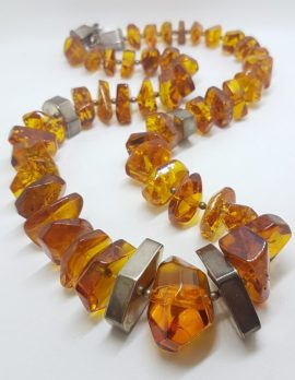 Sterling Silver & Baltic Amber Large Chunky Bead Necklace / Chain