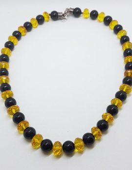 Natural Faceted Baltic Amber & Onyx Bead Necklace / Chain