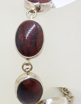 Sterling Silver Oval Red Jasper Bracelet