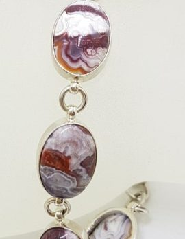 Sterling Silver Oval Crazy Lace Agate Bracelet