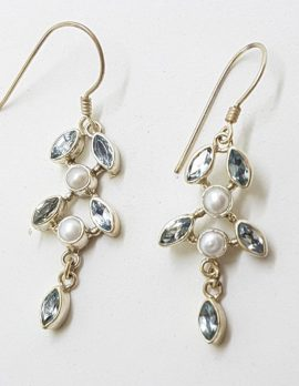 Sterling Silver Blue Topaz and Pearl Long Leaf Design Drop Earrings