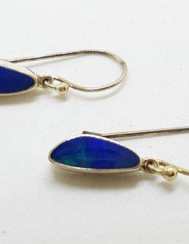 Sterling Silver Opal Blue Long Drop Earrings