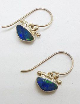 Sterling Silver Opal Blue Triangular Dainty Drop Earrings