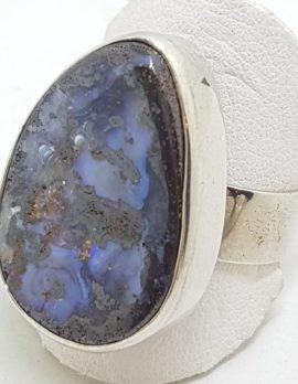 Sterling Silver Large Freeform Boulder Opal Ring