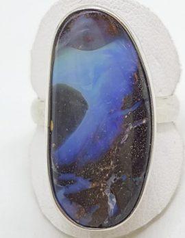 Sterling Silver Large/Long Boulder Opal Ring