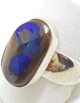 Sterling Silver Large Boulder Opal Wide Band Ring