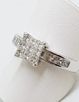 18ct White Gold Diamond Engagement Ring - Square Cluster