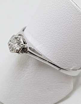 18ct White Gold High Set Round Diamond Solitaire Engagement Ring