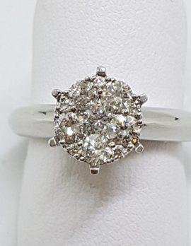 18ct White Gold High Set Round Large Cluster Diamond Engagement Ring