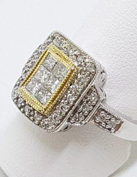 9ct Yellow & White Gold Large Rectangular Cluster Diamond Ring
