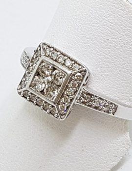 9ct White Gold Square Cluster Diamond Ring