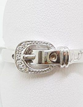 9ct White Gold Diamond Buckle Ring