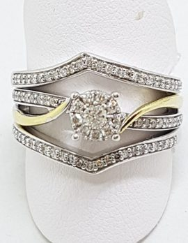 9ct White & Yellow Gold Diamond Engagement/Wedding/Eternity Ring Set