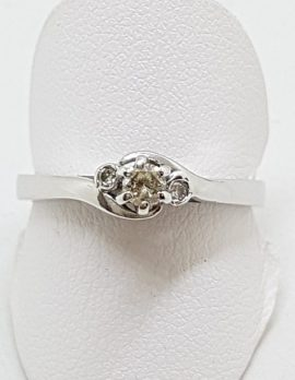 9ct White Gold Trilogy Diamond Engagement Ring