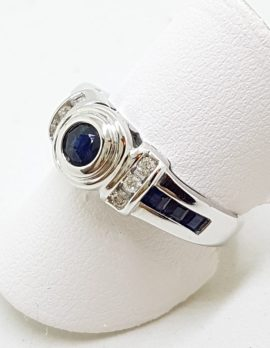 9ct White Gold Channel and Bezel Set Natural Sapphire & Diamond Ring