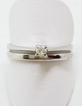 9ct White Gold Solitaire Diamond Engagement & Wedding Band Ring Set