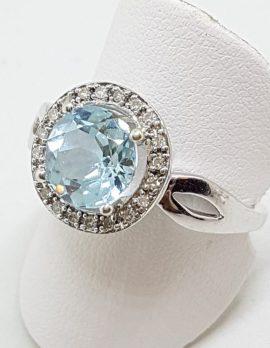 9ct White Gold Topaz and Diamond Round Ring