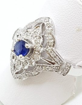 9ct White Gold Diamond and Sapphire Elongated Ring