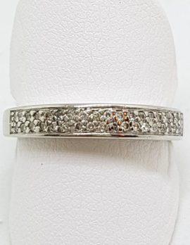 18ct White Gold Diamond Pave Set Band Ring