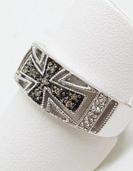 9ct White Gold Diamond (Dark & LIght) Wide Cross Design Band Ring