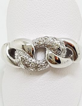 9ct White Gold Diamond Twisted Knots Ring
