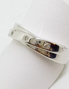9ct White Gold Diamond Twisted Crossover Ring