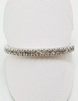 9ct White Gold Diamond Claw Set Band Ring