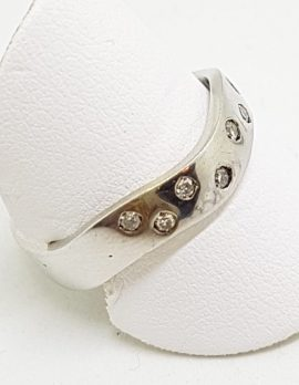 9ct White Gold Diamond Wide Wavy Curved Band Ring