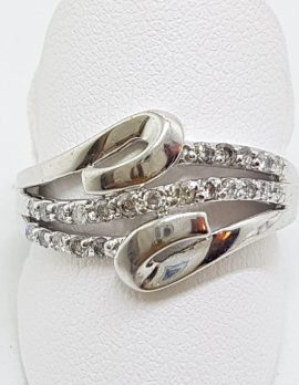 9ct White Gold Diamond Wide Wavy Curved Twist Ring