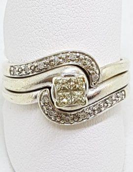 9ct White Gold Diamond Curved Engagement, Wedding & Eternity Three Ring Set