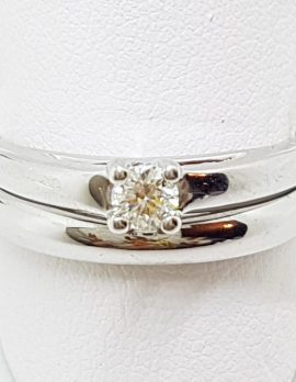 9ct White Gold Claw Set Solitaire Diamond Engagement & Wedding Ring Set