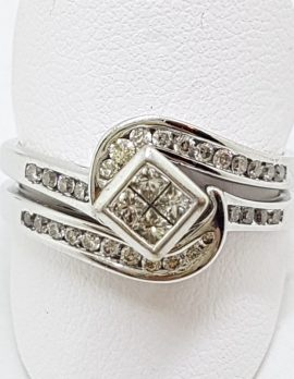 9ct White Gold Channel Set Diamond Curved Engagement, Wedding & Eternity Three Ring Set