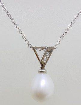 9ct White Gold Pearl & Channel Set Diamond Pendant on Gold Chain