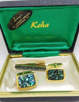 Gold Plated Rectangular Paua Shell Cufflink & Tie Clip Set