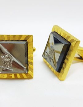 Gold Plated Square Roman Soldier Cufflink, Stud & Tie Clip Set