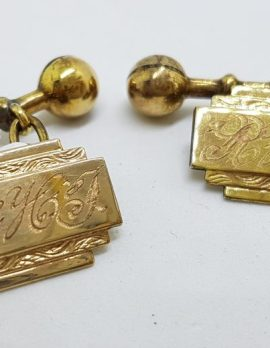 Gold Lined Initialed Ornate Rectangular Cufflinks