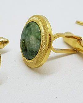 Gold Plated Round Green Jade Cufflink & Stud Set