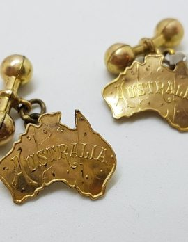 Gold Lined Ornate Australia Cufflinks