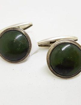 Sterling Silver Round Jade Cufflinks