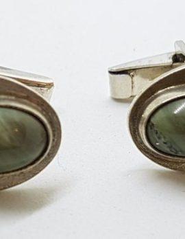 Sterling Silver Oval Jade Cufflinks