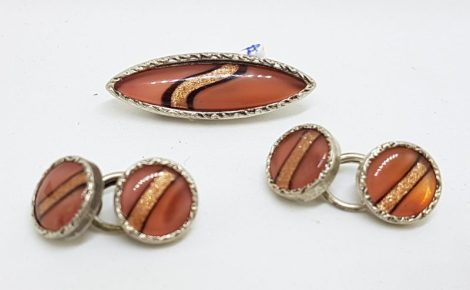 Sterling Silver Vintage Cufflink and Pin Set