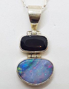 Sterling Silver Blue Opal & Smokey Quartz Pendant on Silver Chain