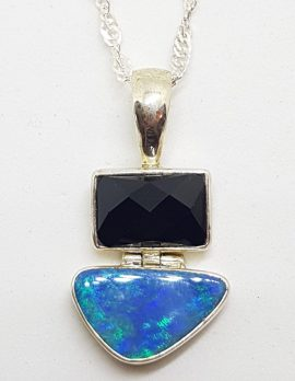 Sterling Silver Blue Opal & Onyx Pendant on Silver Chain
