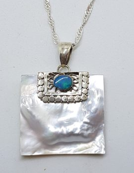 Sterling Silver Blue Opal & Mother of Pearl Large Square Pendant on Silver Chain